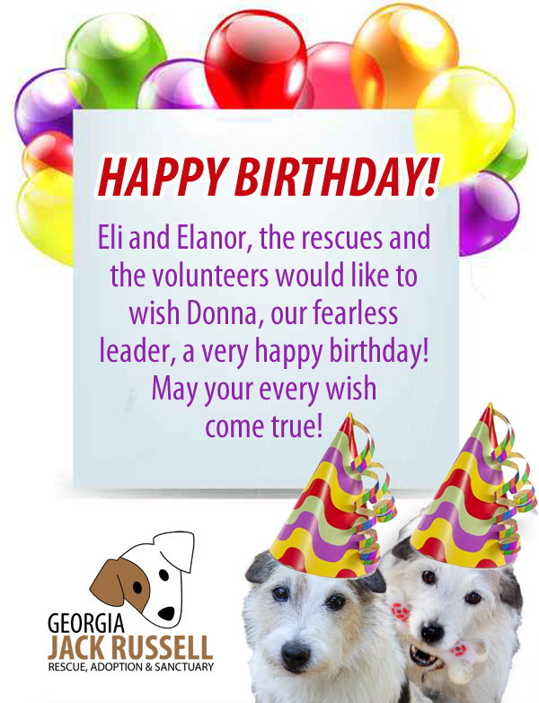 Eli and Elanor, the rescues and the volunteers would like to wish Donna, our fearless leader, a very happy birthday! May your every wish come true today.