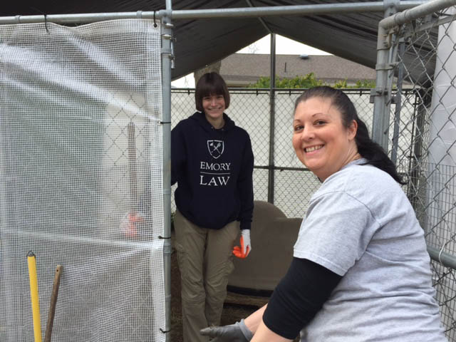 Long-time Team Russell member, Wonder Donna, supervising the hard-working crew.