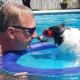 Dad and Octavia, playing in the pool
