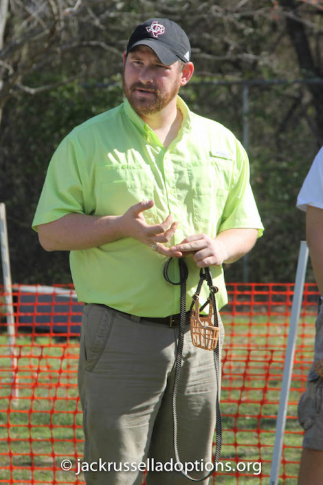 Dogwood Jack Russell Terrier Club president Juston Thompson giving participants an outline of the day's events.