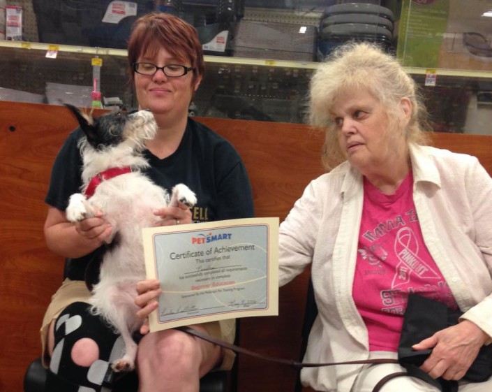 Penelope graduating obedience class
