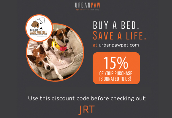 Buy a bed, save a life. 15% of your purchase of an Urban Paw bed will go the JRT rescues.